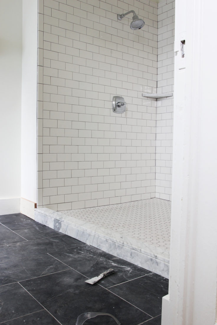 The Grit and Polish - Porch Master Suite Marble Shower Curb