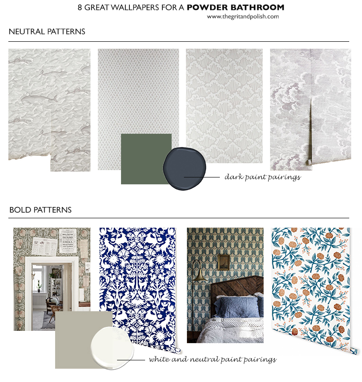 The Grit and Polish - 8 Wallpapers for a small bathroom