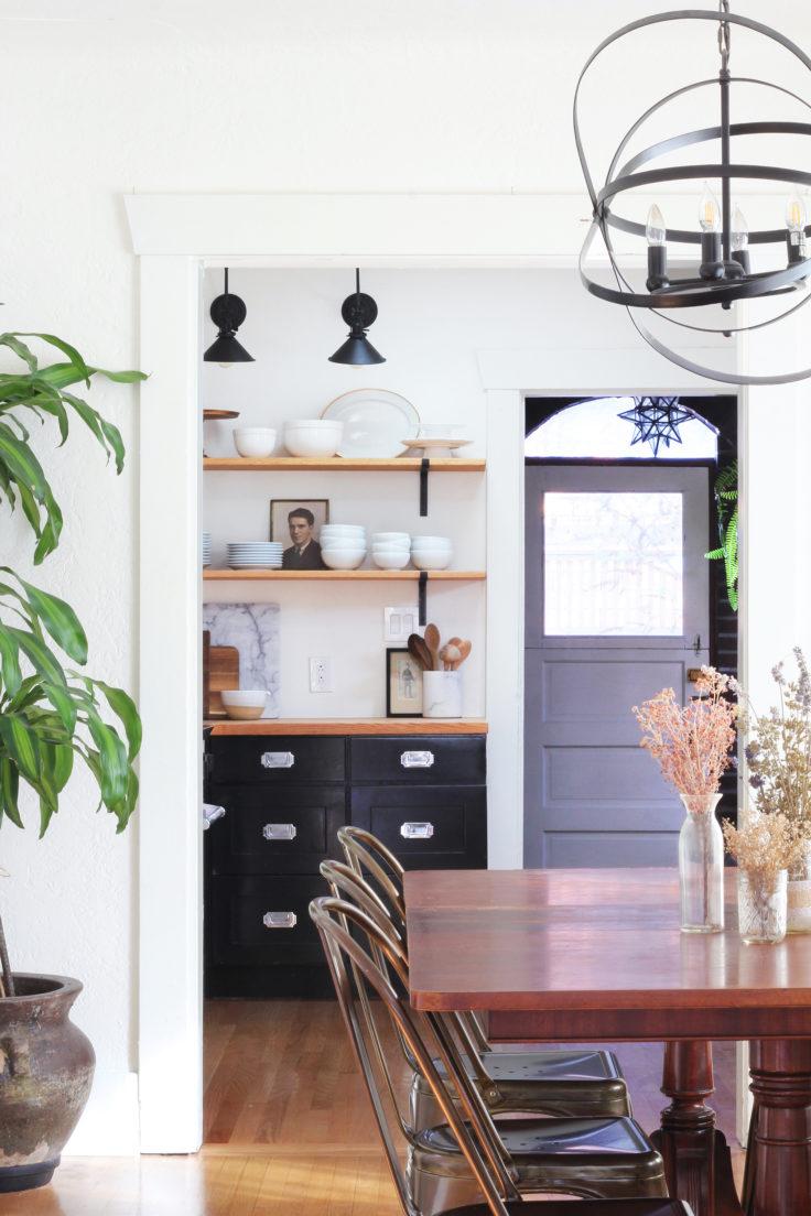 black and white kitchen, black kitchen, two-tone kitchen, open shelves