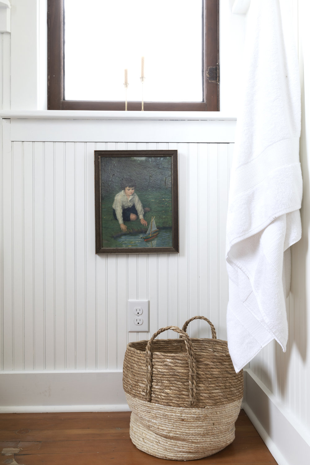 The Grit and Polish - Farmhouse Bathroom Budget Refresh Vintage Art Under Window.jpg