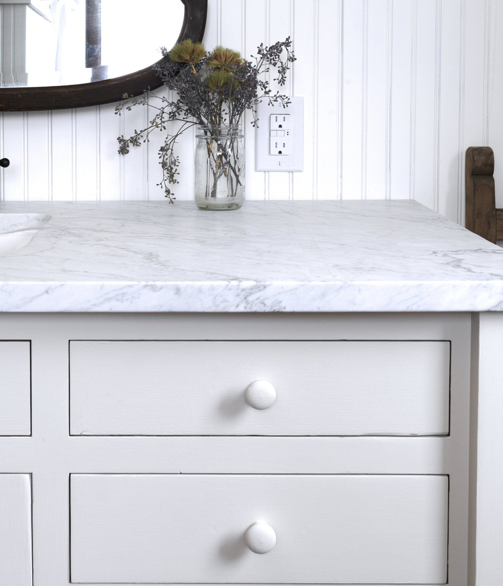 The Grit and Polish - Farmhouse Bathroom vanity painted Valspar September Fog.jpg