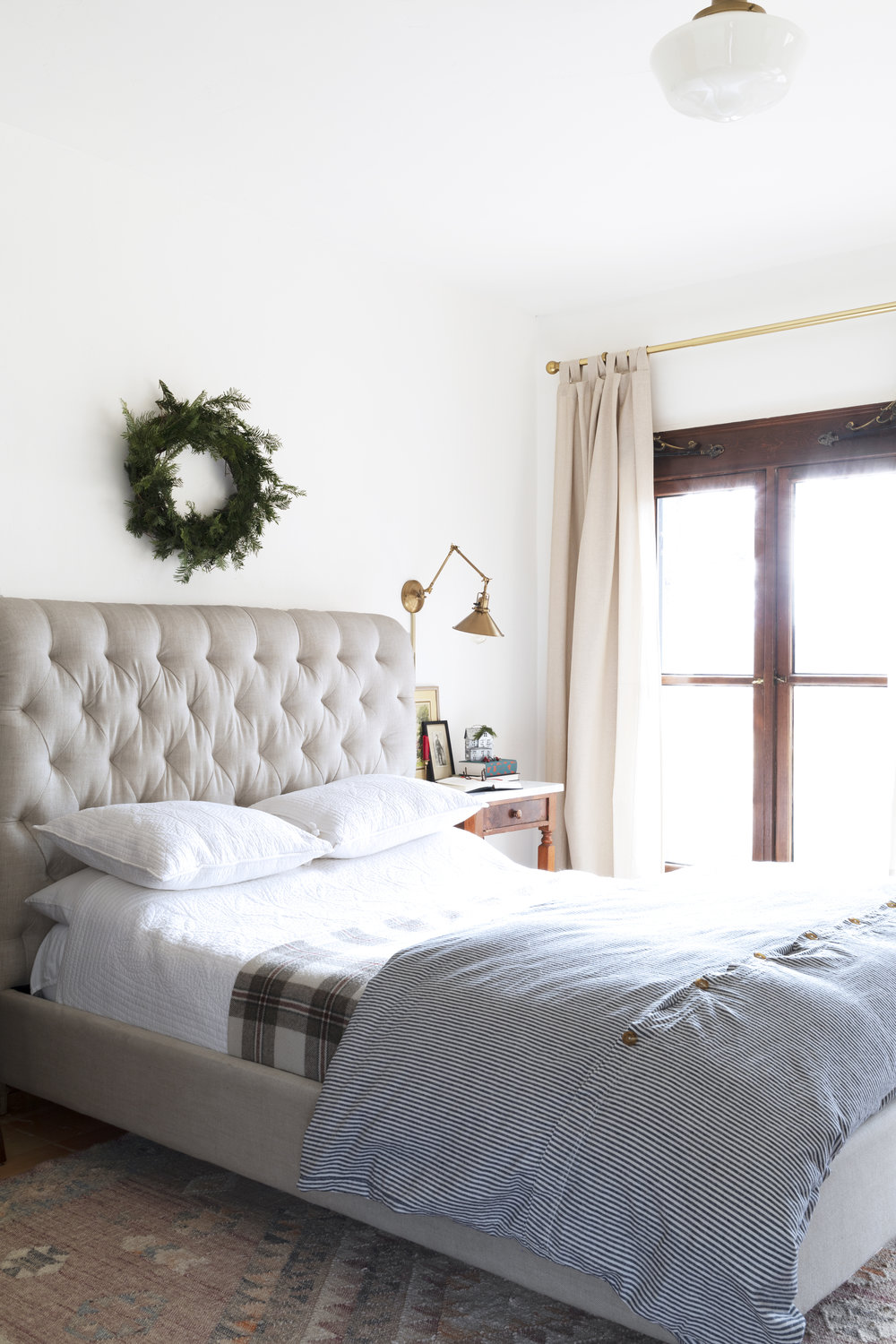 The Grit and Polish - Farmhouse Master Bed Christmas.jpg