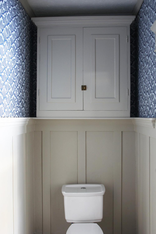 The Grit and Polish - Porch Powder Bathroom cabinet