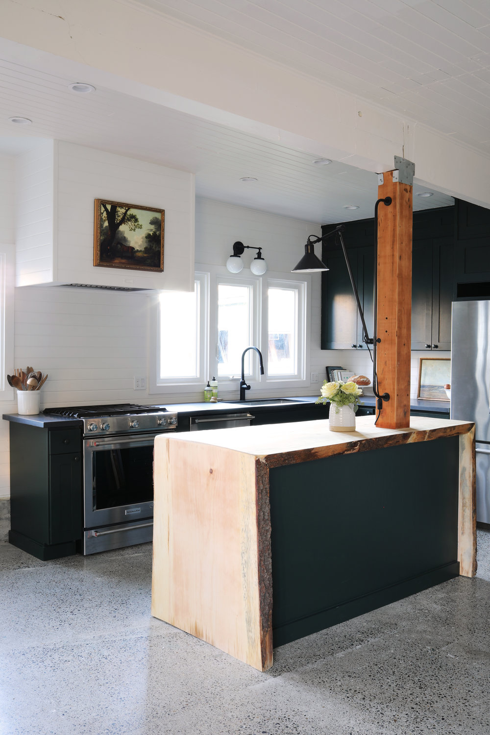 The Grit and Polish - Tacoma Kitchen Reveal Waterfall Live Edge Island Back.jpg