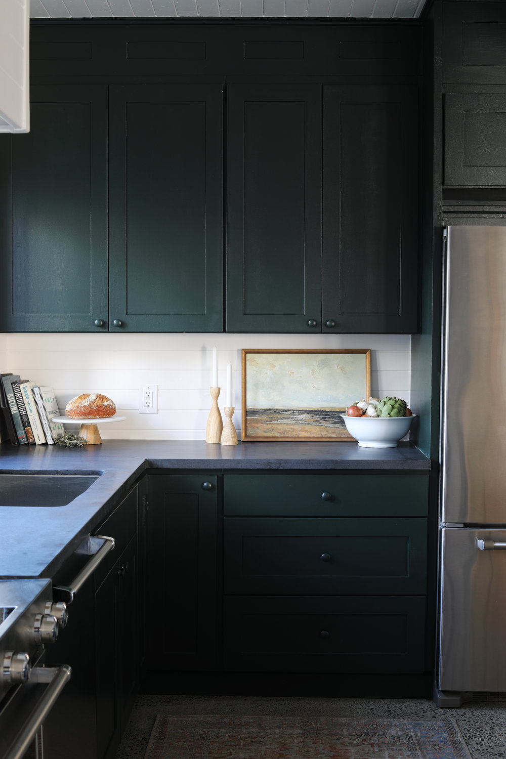 The Grit and Polish - Tacoma Kitchen Sherwin Williams Jasper Cabinets + Art.jpg
