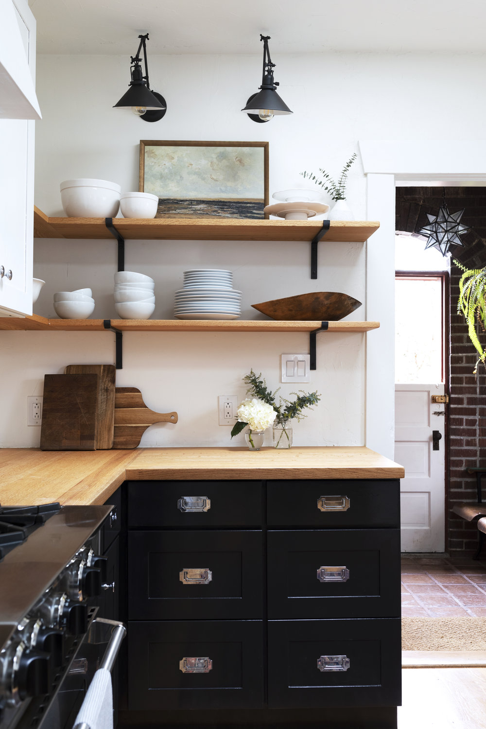 Oak shelves and black cabinets Dexter House Kitchen // the Grit and Polish