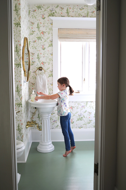 The Grit and Polish - Winnie's Bathroom Winnie at sink.jpg