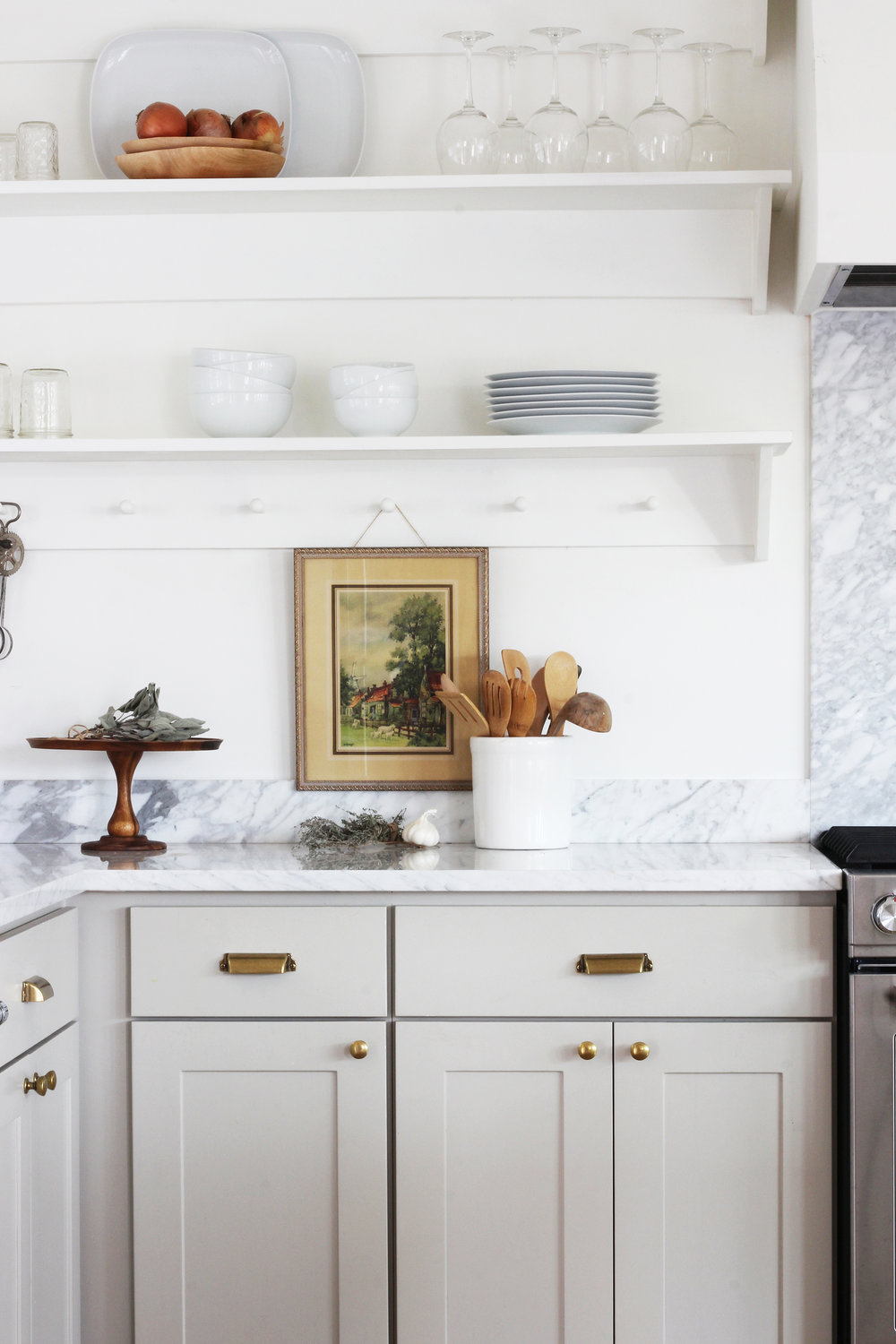 Porch Kitchen Shelves // neutral cabinet paint colors for kitchens // the Grit and Polish
