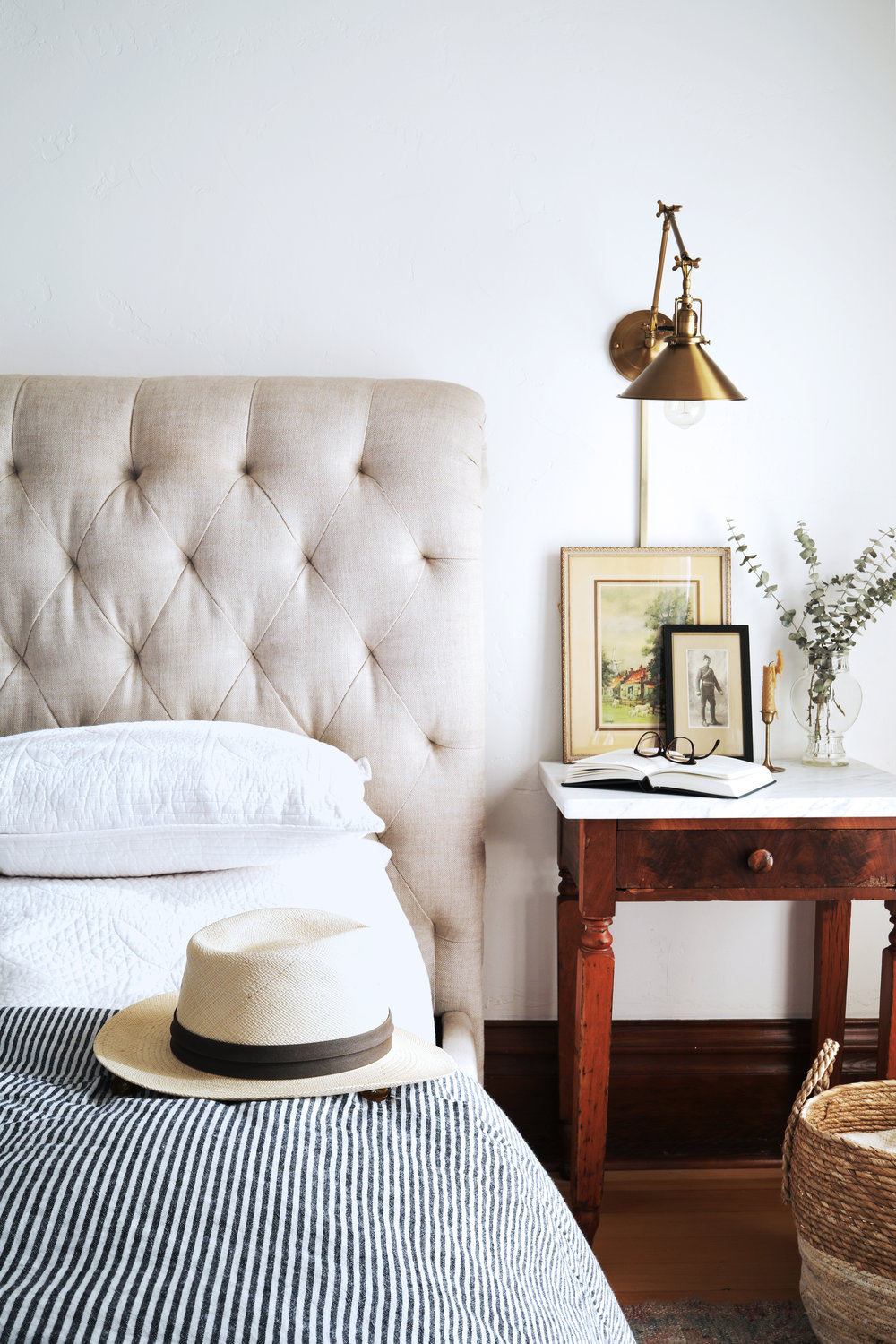 The Grit and Polish - Farmhouse DIY Marble Topped Side Table hat + basket.jpg