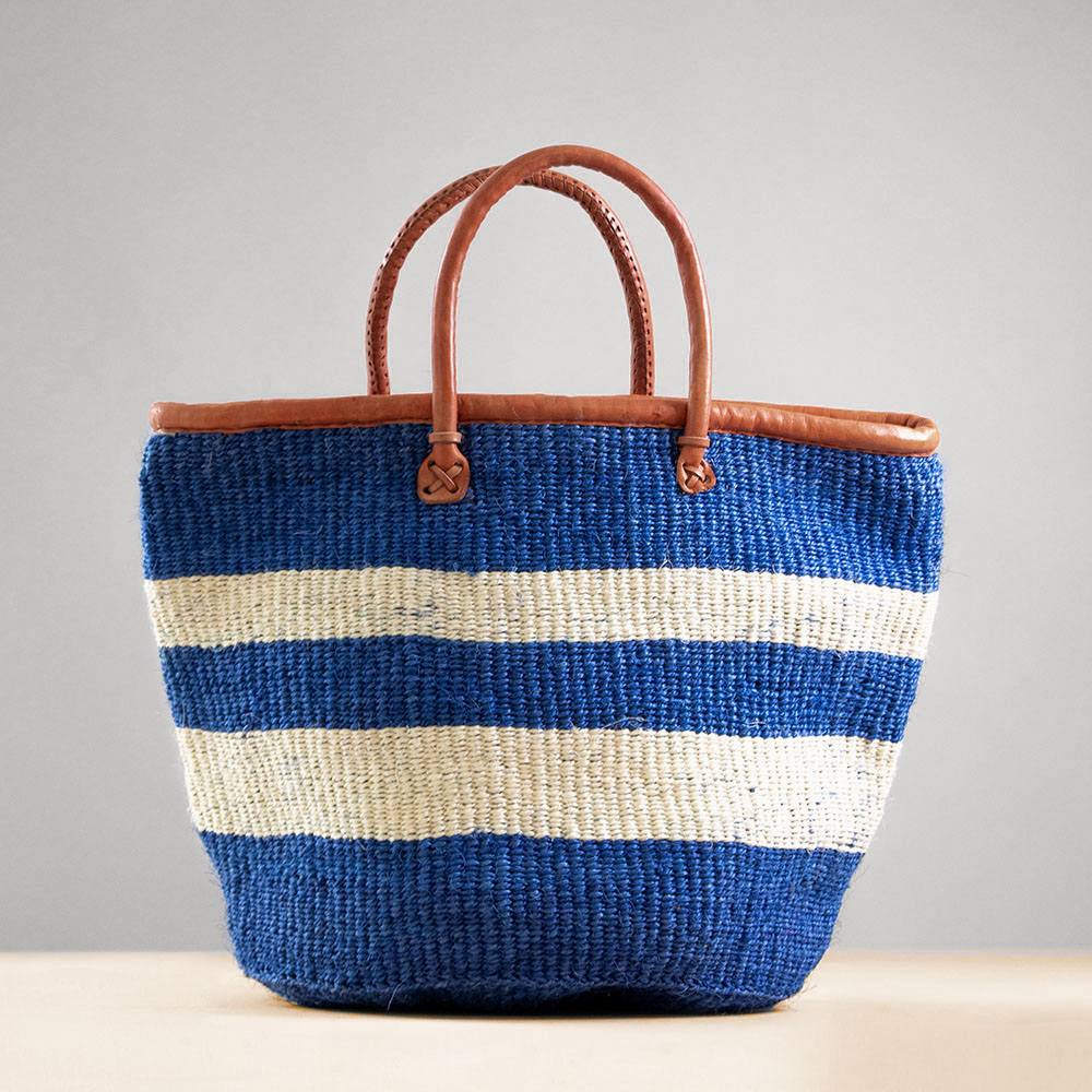 Blue Sisal Basket; Kiondo bag; African tote bag; Handbag; Sisal tote bag; African basket