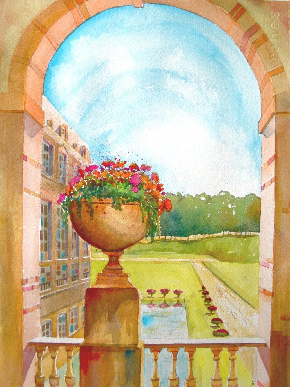 Chateau Flowers - Watercolor 38cmx26cm €480