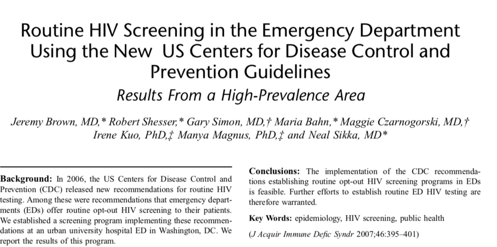 2007 - Routine HIV Screening in the Emergency Department Using the New US Centers for Disease Control and Prevention Guidelines