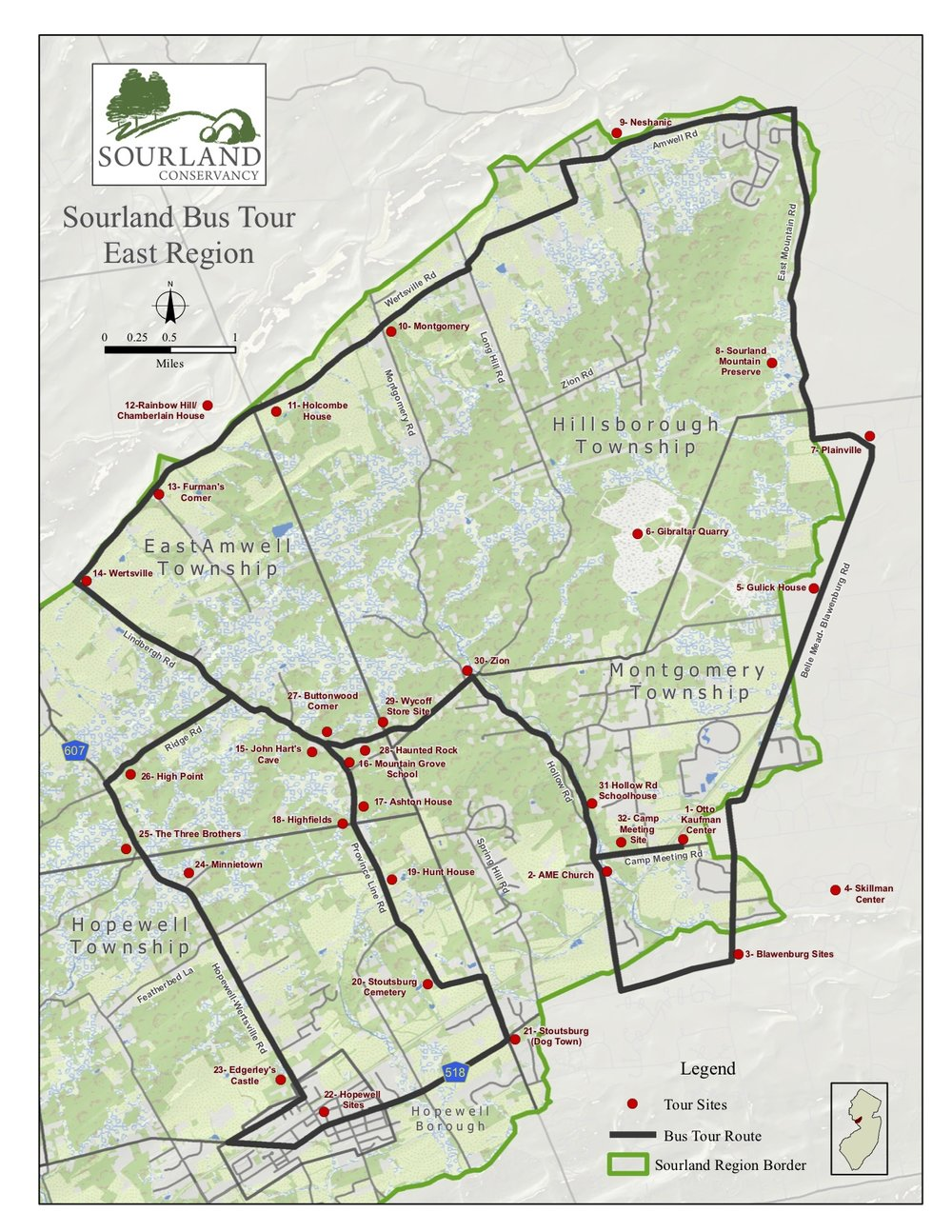 Sourland Conservancy's Eastern bus tour map
