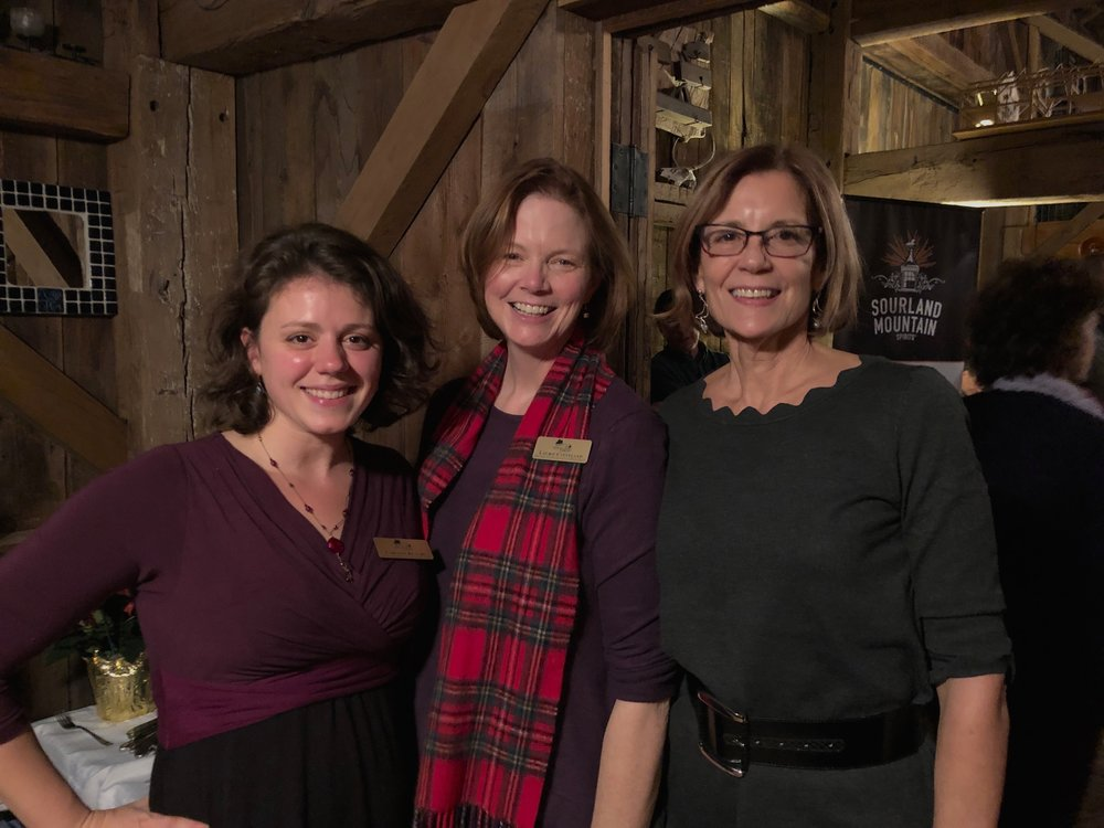 Carolyn Klaube, Laurie Cleveland and Caroline Katmann at the annual Sourland Conservancy Holiday Party.