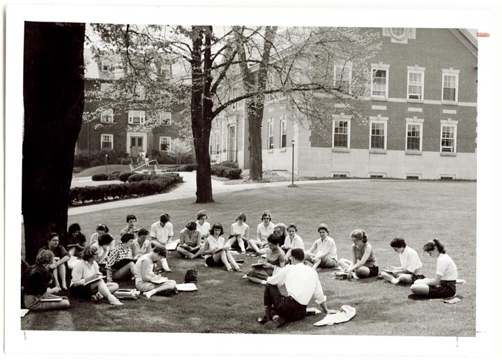 Chatham College students gathered on the old Quad lawn for class.