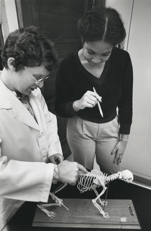 Dr. Mary Kostalos, a Chatham college graduate of 1967, teaches a student using a model of the skeletal system. (1980)