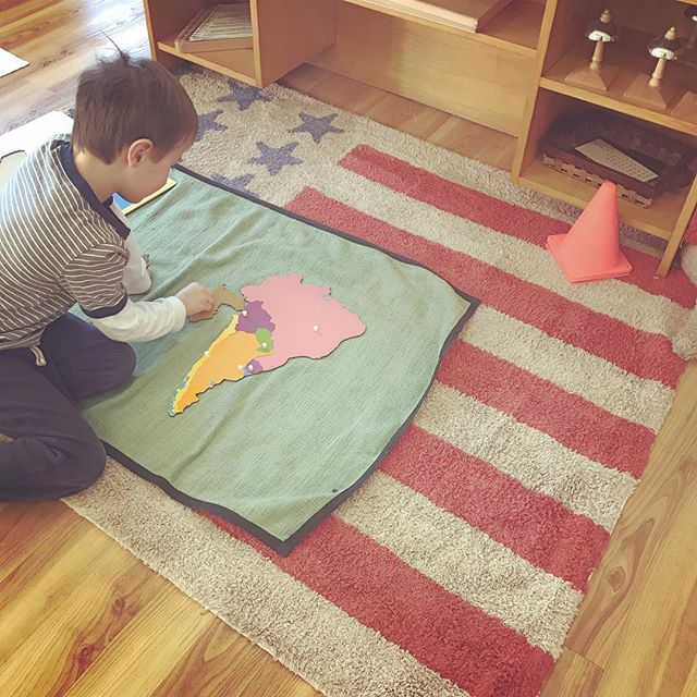 Adding depth to his work.  A natural discovery in a Montessori classroom #southamerica #montessori #waylandmontessori #montessori #geography #puzzle #wayland #waylandma #preschoolteacher #preschoolteacher