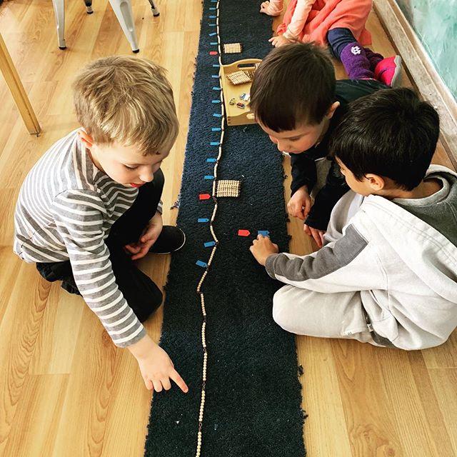Counting to 1000 is more fun with friends! #thisishowwemontessori #montessori #math #beadchain #multiplication #preschool #wayland #ami