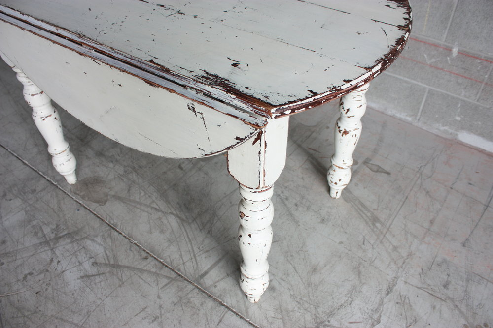 White Chippy Drop-leaf Table