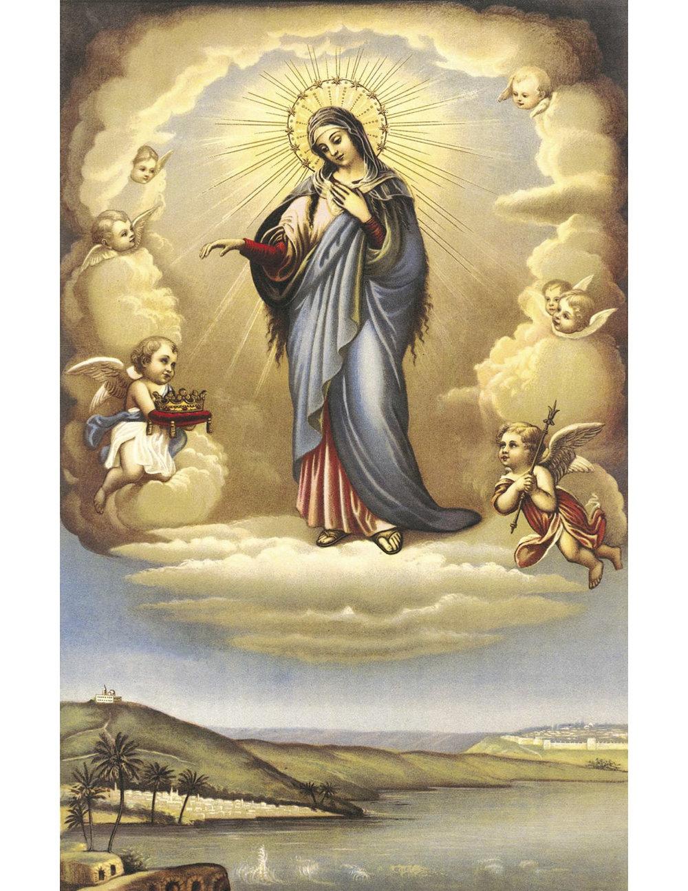 LA BIENHEUREUSE MARIE, REINE DE LA PALESTINE -PATRONNE DE L'ORDRE - FÊTE LE 25 OCTOBREÉcritE en 1926 par le Patriarche latin de Jérusalem, Mgr Luigi Barlassina. - Ô Marie Immaculée, gracieuse Reine du Ciel et de la Terre, nous voici prosternés à vos pieds, assurés de votre bonté et confiants en votre puissance. Nous vous supplions de jeter un regard de bonté sur la Terre de Palestine, qui, plus que tout autre pays, vous appartient, puisque vous l'avez honorée par votre naissance, vos vertus et vos douleurs, et c'est là que vous nous avez donné le Sauveur du Monde. Souvenez-vous que vous y fûtes constituée notre Mère et la dispensatrice des grâces. Daignez accorder votre protection spéciale à votre Patrie de la terre, y dissiper les ténèbres de l'erreur, pour que, sur elle, resplendisse le soleil de l'éternelle justice et que s'accomplisse la promesse, tombée des lèvres de votre divin Fils, de former un seul troupeau sous la conduite d'un seul Pasteur. Obtenez-nous de servir le Seigneur, dans la justice et la sainteté, chaque jour de notre vie, afin que, par les mérites de Jésus, et avec votre maternelle protection, nous puissions passer de la Jérusalem terrestre aux splendeurs de la Jérusalem céleste. Amen.