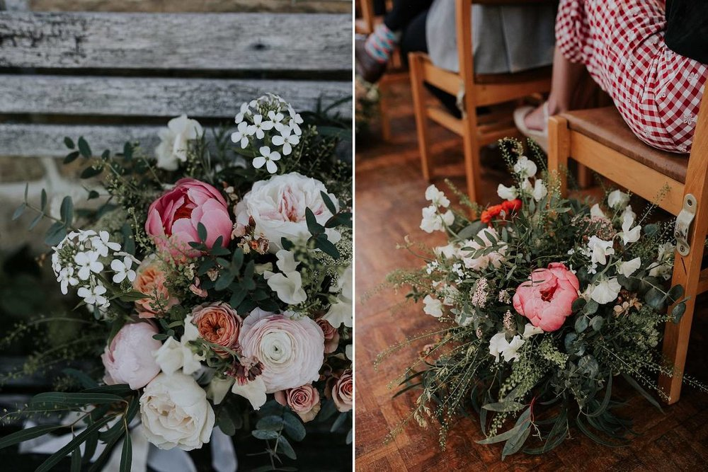 Bridal bouquet and wedding aisle flowers by chair