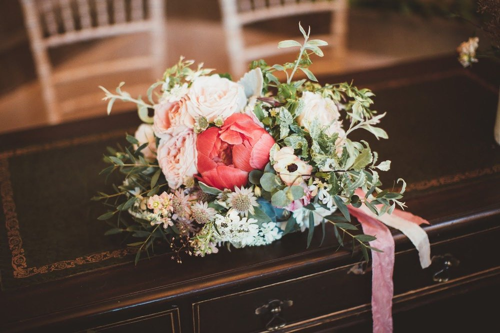 Bridal bouquet on registrar's table