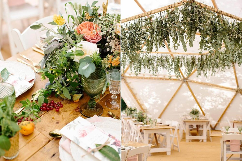 Rose and foliage table centrepiece and marquee foliage chandelier