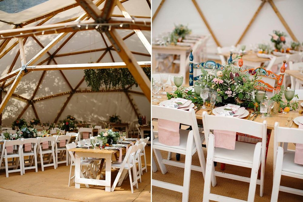 Italian wedding feast with flowers party setting in marquee