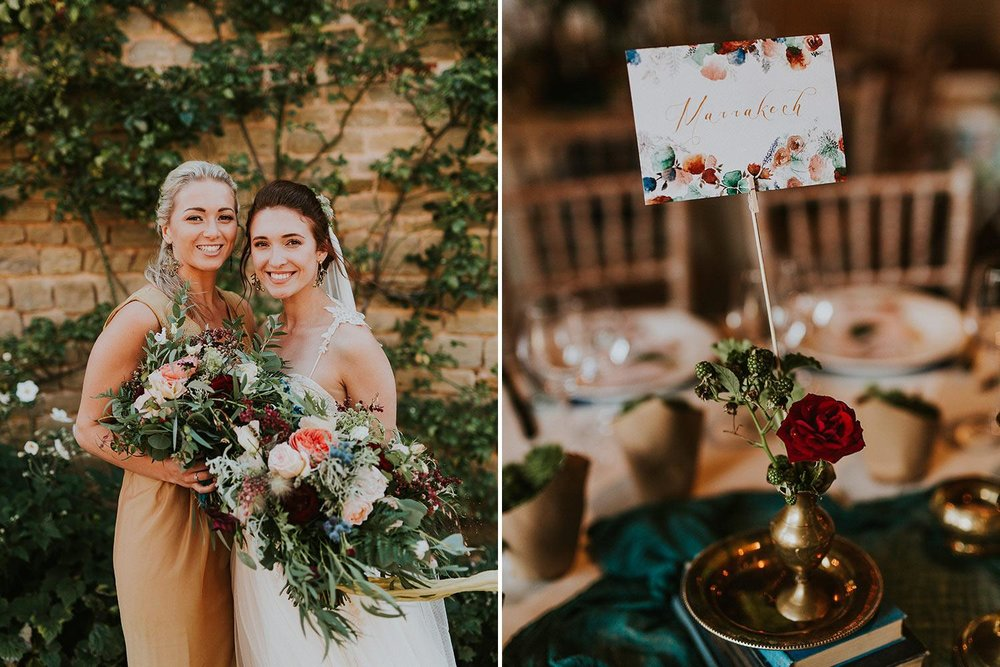 Nride and bridesmaid with woodland wedding flowers and table setting