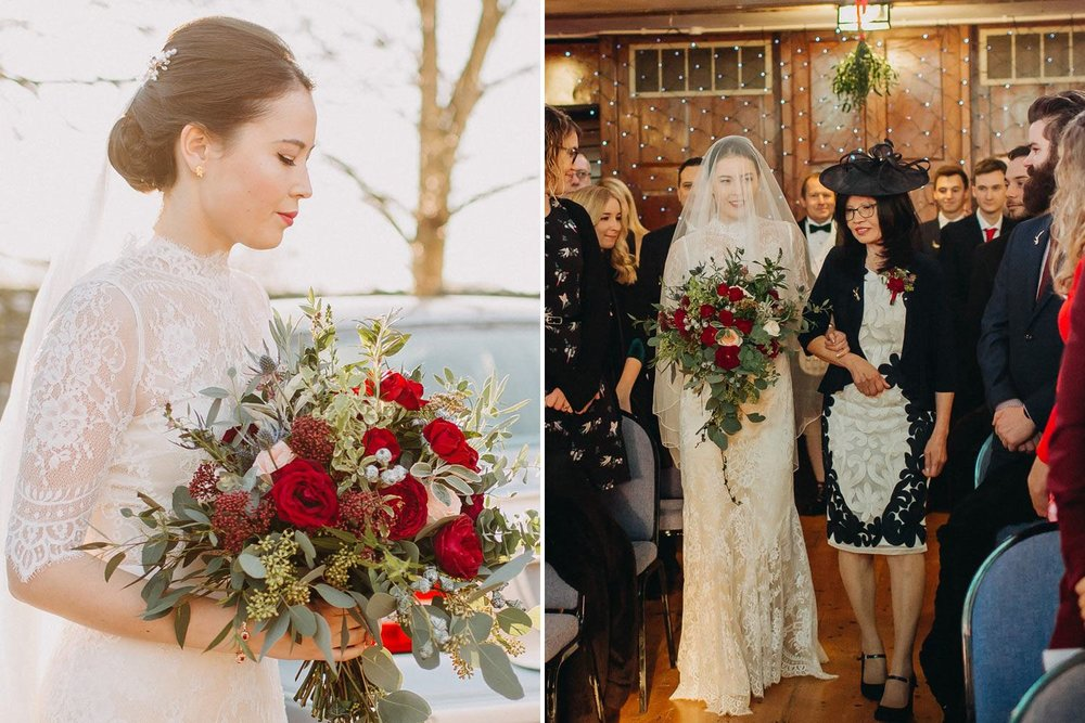 Winter wedding with bride, mother and red flowers