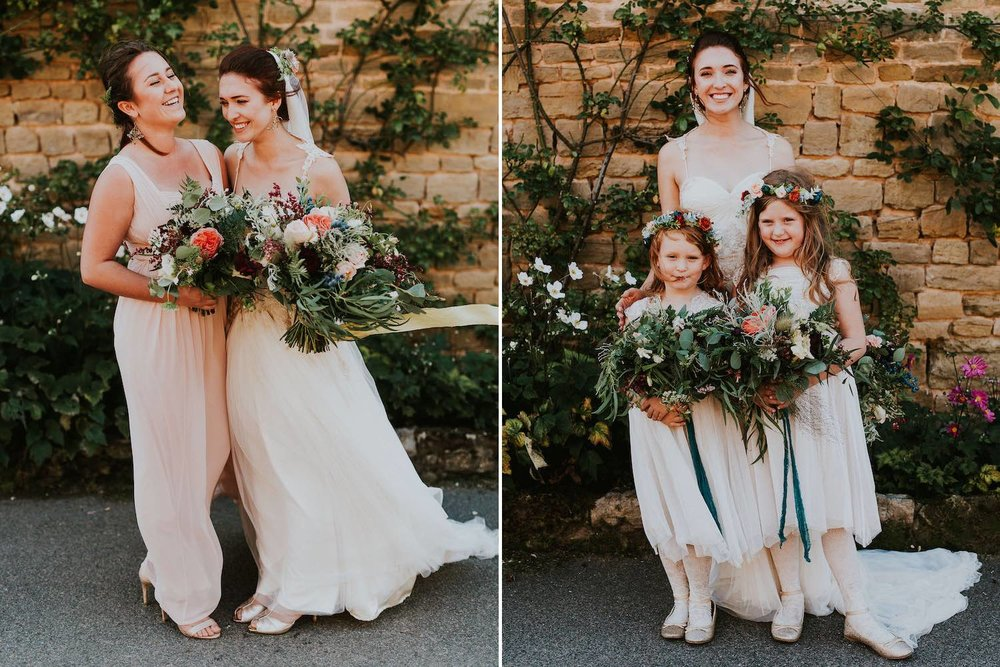 Woodland bride with bridesmaid and flower girls