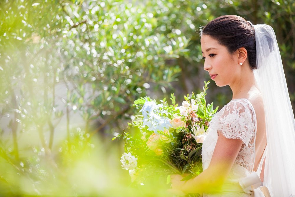 Japanese bride with bouquet in flower garden