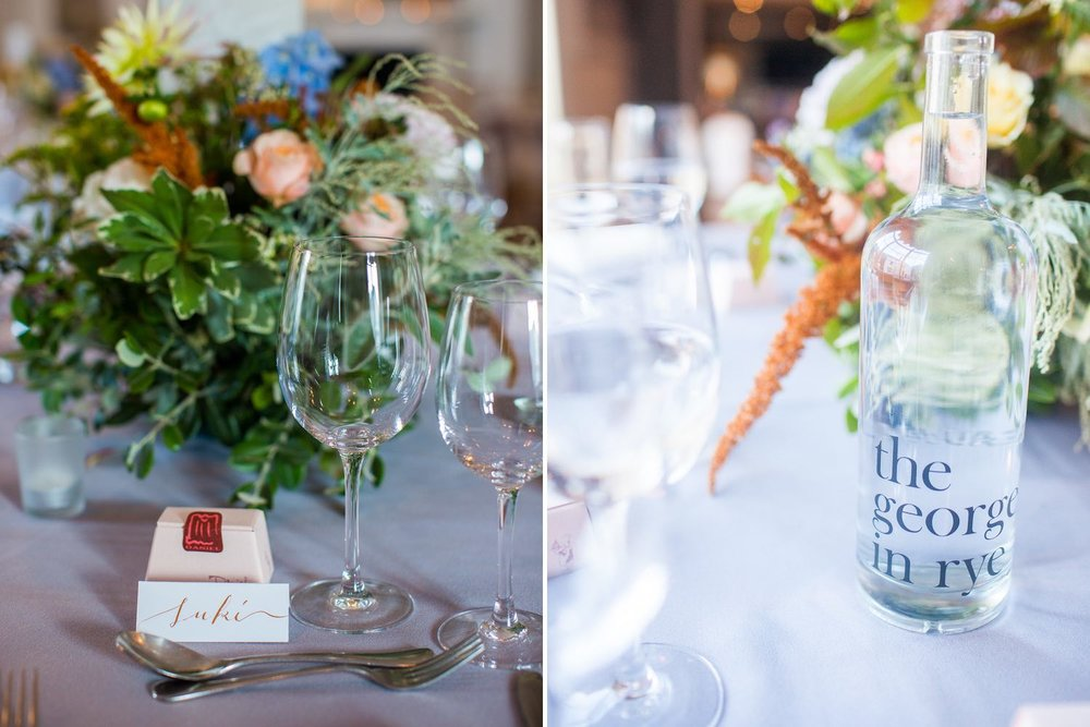 Wedding tables with autumn flowers and glasses
