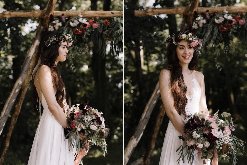 Woodland ceremony bride with bouquet and flower crown