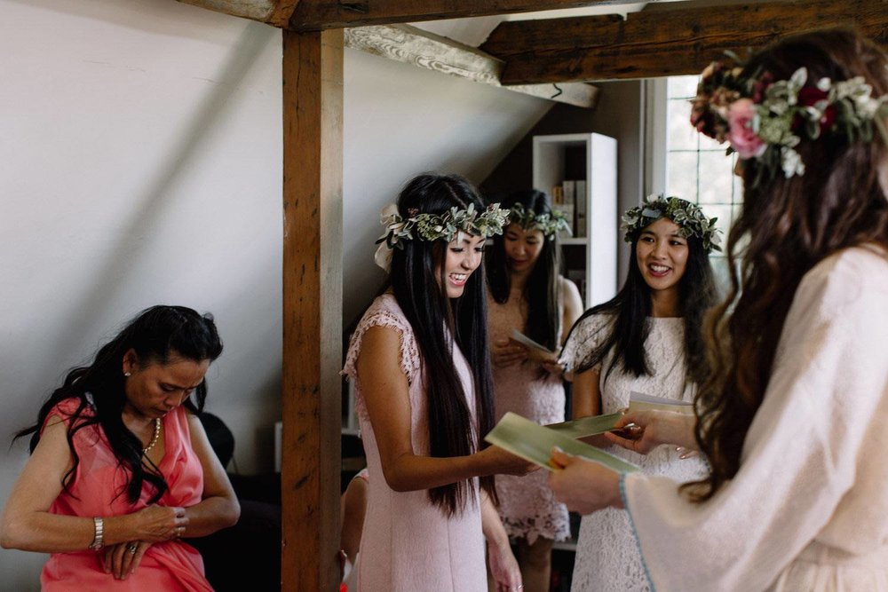 Bridesmaids with foliage crowns