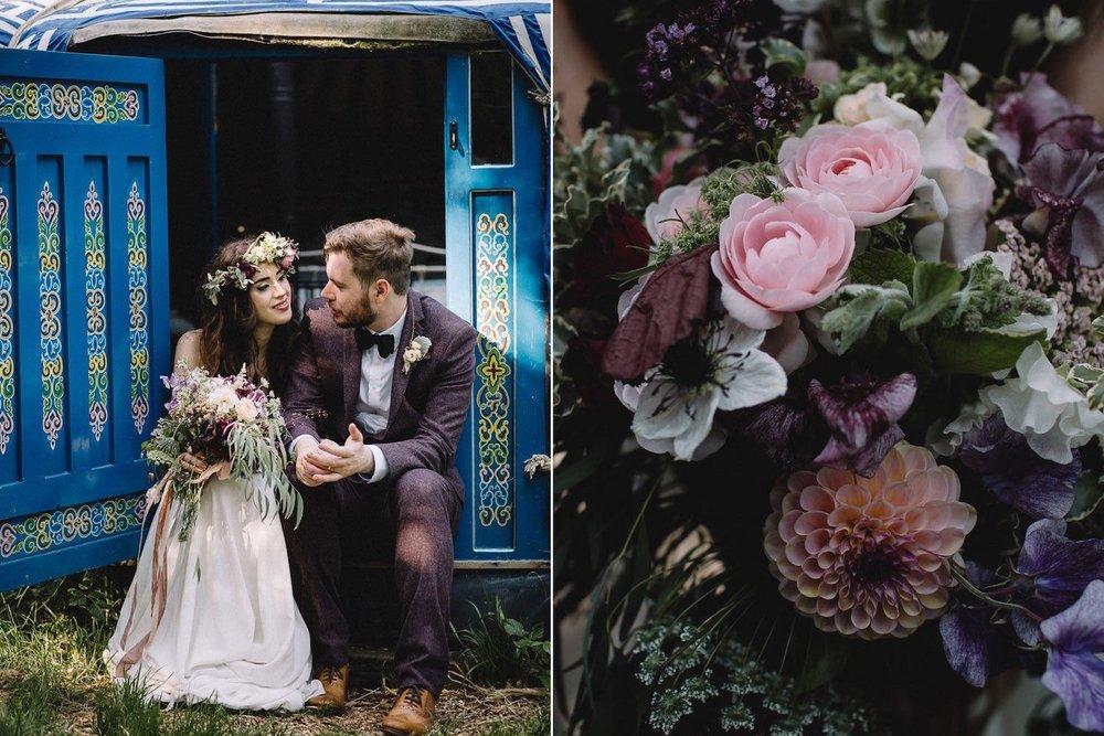 Bohemian wedding couple outside wedding yurt with flowers