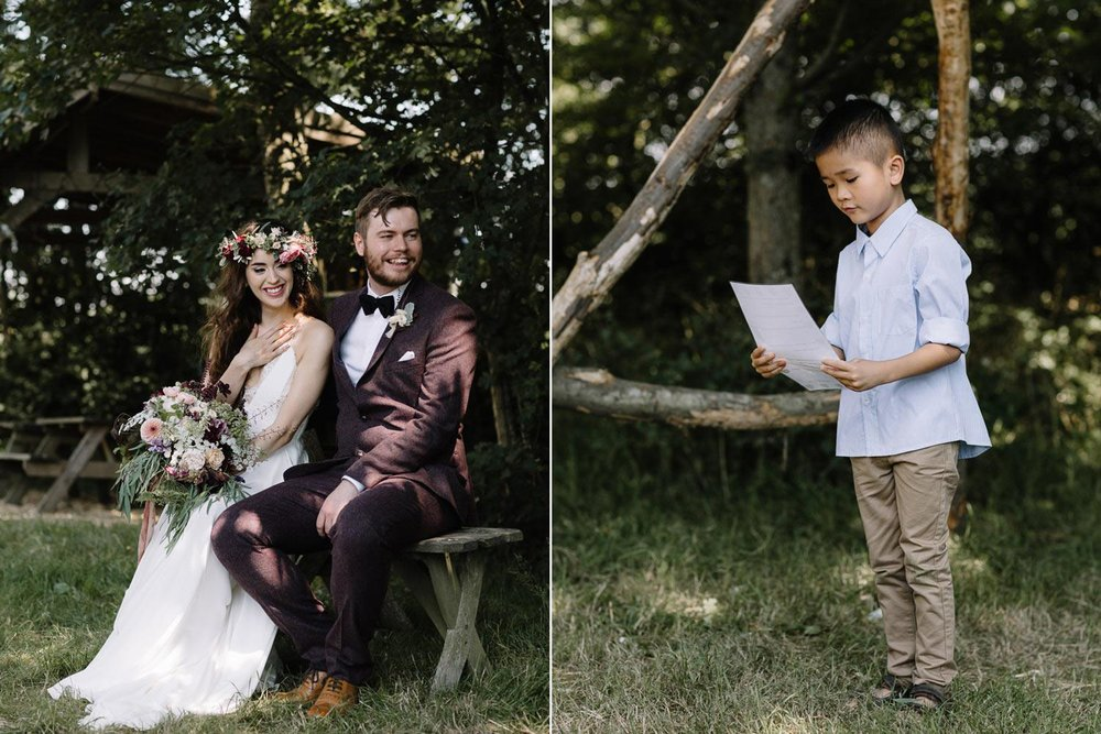 Bride and groom and pageboy in woodland wedding