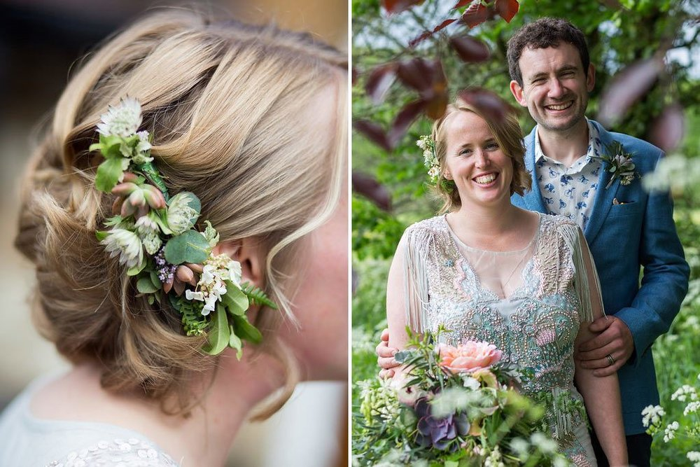 Bride with hair flower clip and bridal bouquet with groom's buttonhole