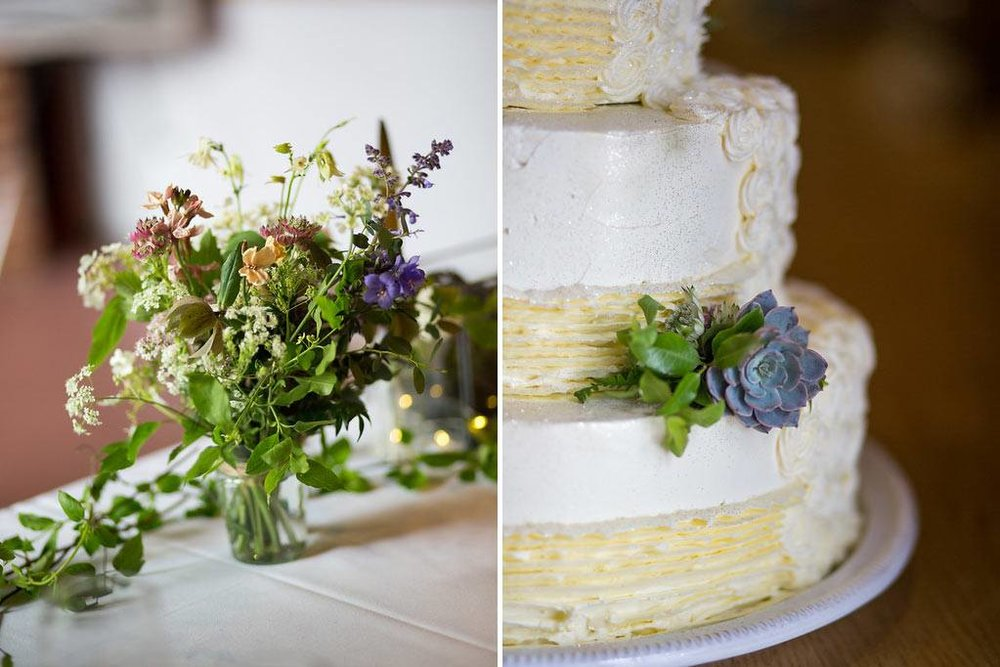 Wedding cake with succulents and wild flowers in jar