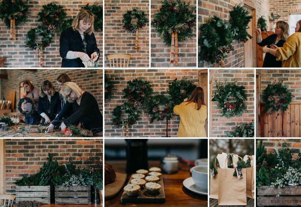 Scenes of Christmas wreath workshop in Sussex barn