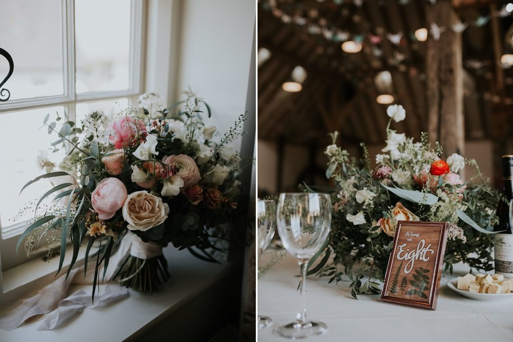 Bridal bouquet and table centrepiece