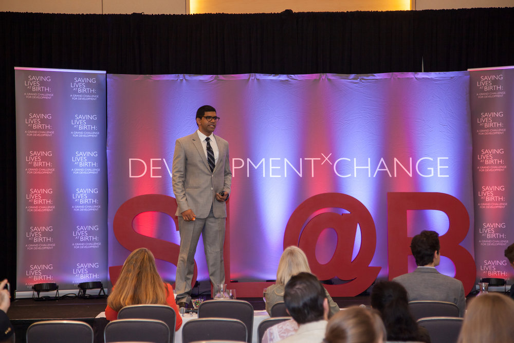 Ratul Narain, our founder, presenting at the Saving Lives at Birth Development XChange, where BEMPU was awarded a seed grant for our ApneBoot.