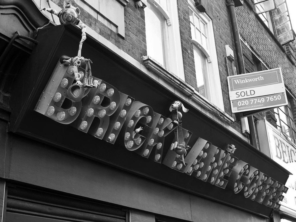 Toy Story invades Brick Lane Coffee. Brick Lane, London.     Shotbydan on Flickr .