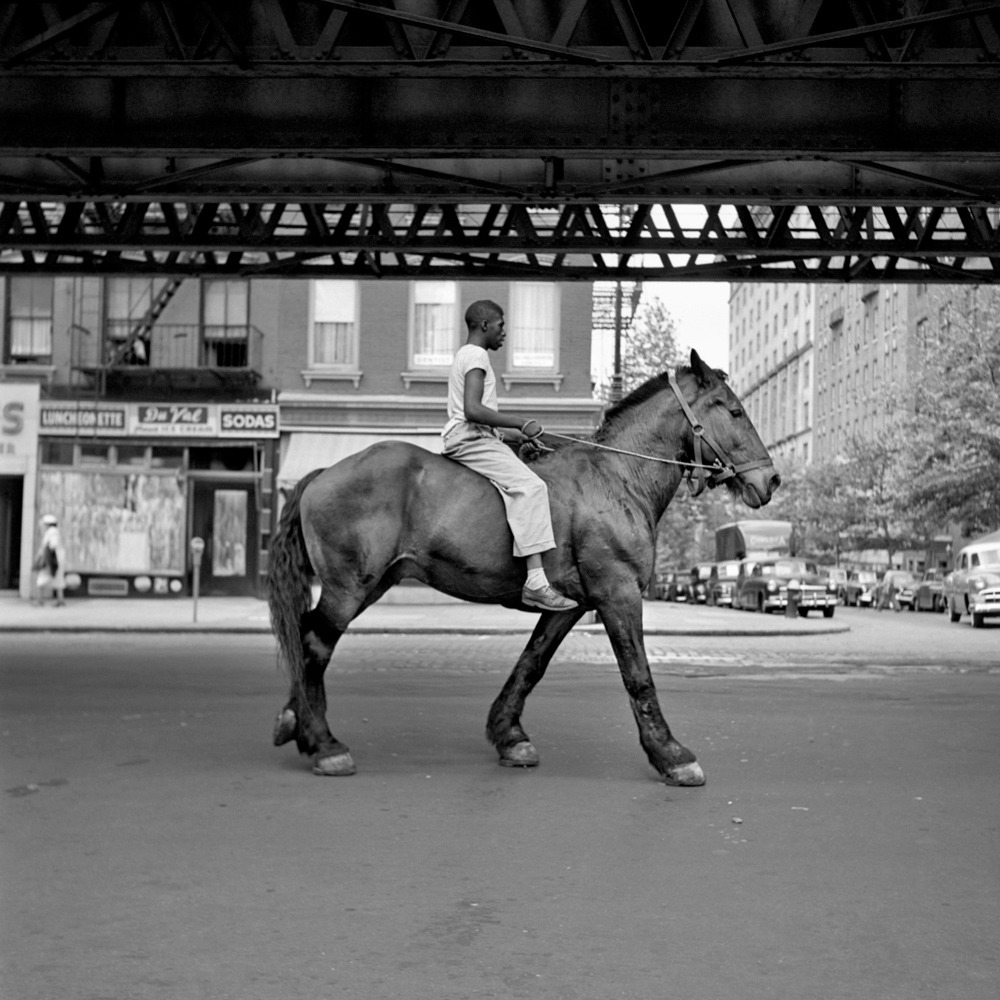 "Man on horse, New York, NY – Vivian Maier    Watching "" Finding Vivian Maier "" about the titular unknown street photographer. This is  my favourite of her photos  I've seen."
