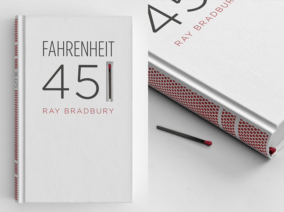 'Burnable' Fahrenheit 451 , designed by  Elizabeth Perez      Fahrenheit 451  is a novel about a dystopian future where books are outlawed and firemen burn any house that contains them.   Designer Elizabeth Perez took this idea into the design of the book itself. The book's spine is screen-printed with a matchbook striking paper surface, so the book itself can be burned.   ( via )