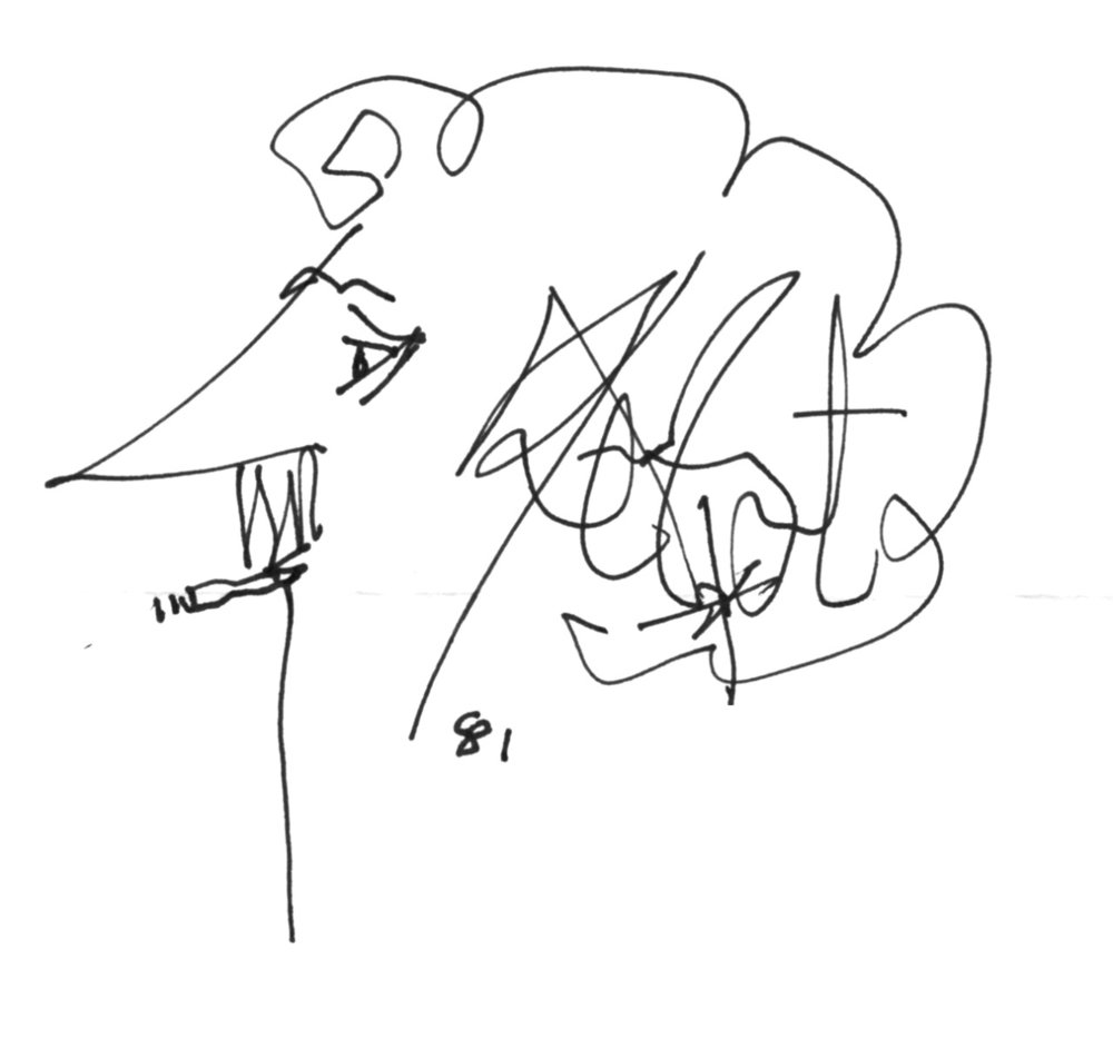 Kurt Vonnegut's Signature    It's his face. HIS SIGNATURE IS HIS GODDAMN FACE. He was a genius.