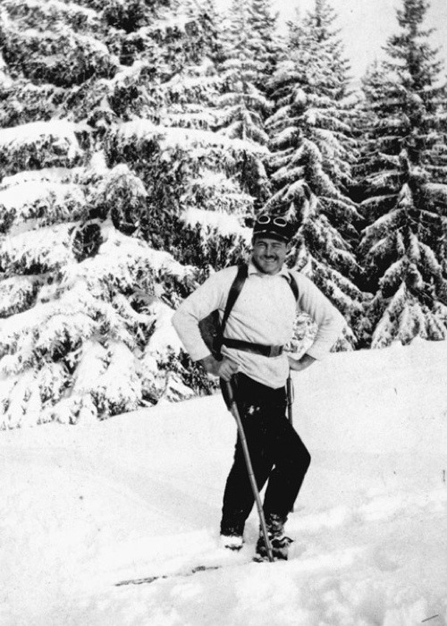 Ernest Hemingway, Feb 1927    On the reverse: 'This is to reassure you if you hear reports of another of your authors dying of drink.'   See more photos of  famous authors playing in the snow over at Flavorwire .
