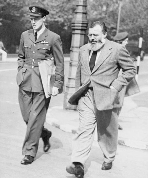 Roald Dahl and Ernest Hemingway, London, 1944    Look at that epic beard! Here's  the story behind the photo .   Flavorwire has even  more awesome writers hanging out together .