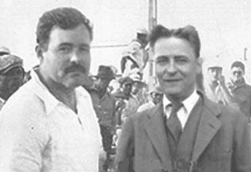 "When Ernest Met Francis    Ernest Hemingway first met F. Scott Fitzgerald in the Dingo Bar on the rue Delambre in Paris.   As Hemingway was sitting and drinking with some ""completely worthless characters,"" Fitzgerald came in with the famous baseball pitcher, Dunc Chaplin.   Hemingway recognised Fitzgerald, and took this chance to introduce himself;     ""Mr Fitzgerald, forgive me, but my name is Ernest Hemingway, I am a writer.""   ""Call me Scott. May I call you Ernest?""   ""Yes.""   ""Well, Ernest, this is my friend Dunc Chaplin, who plays baseball and went to Princeton like me.""   ""Please to meet you…""   ""Dunc, call me Dunc.""   ""Dunc.""     Scott then ordered a bottle of champagne.     ""To celebrate my two new friends, one of whom plays baseball better than I ever did - and I never did - and one who writes better than me, and that takes some doing.""     Fitzgerald explained how he'd read Hemingway's work in newspapers and a couple of small magazines, and that he genuinely thought Ernest was the new voice of the 20th century.   So taken was Fitzgerald with Hemingway that he even told Max Perkins, his (and eventually Ernest's) editor at Scribner's, that Hemingway's work would outlast his own.   ( via )"