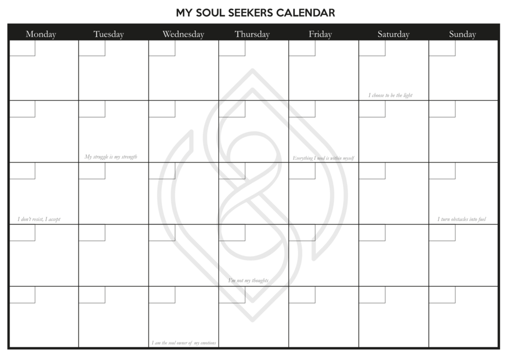 MY SOUL SEEKERS CALENDAR - Time to Break Through - Time to Transform